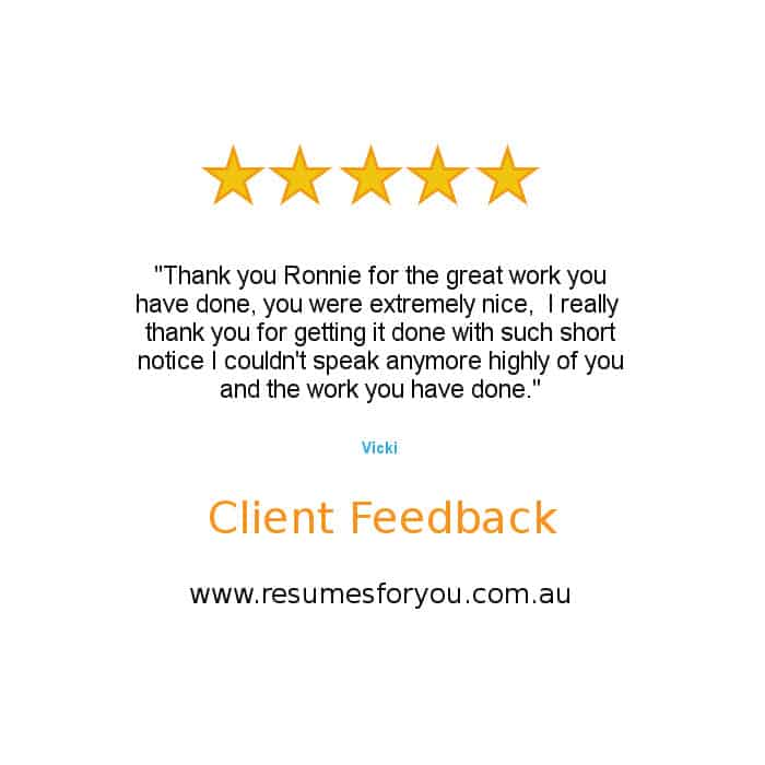 Resume Services - Client Feedback Vicki